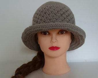 Ladies Crochet Beige Summer Hat 100% Cotton