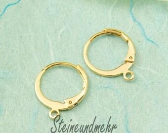 1 Pair of Earrings Brisur Gold 12mm #2592