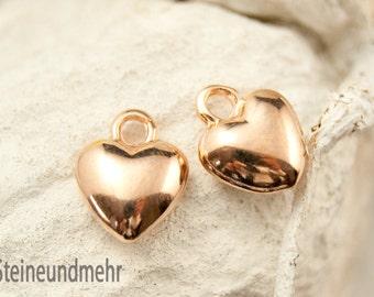 2x Heart bulge Rosegold gilded art. 3430