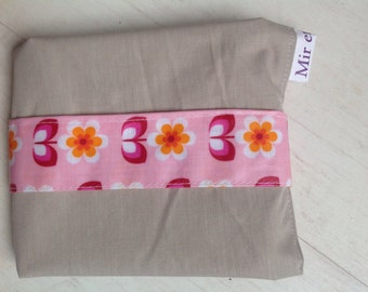 Reusable sandwich bag and placemat-pink-orange flowers/wrap/sandwich lunch sac