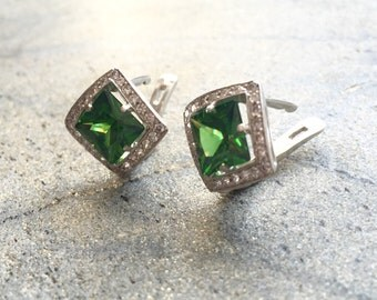 Emerald Earrings, Created Emerald, Vintage Emerald Earrings, Vintage Earrings, Antique Emerald Earrings, Antique Earrings, Silver Earrings