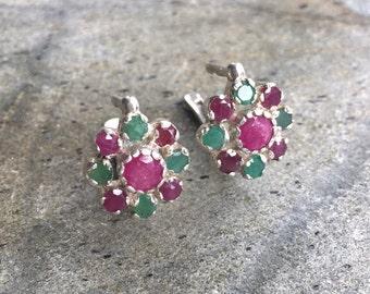 Flower Earrings, Ruby Earrings, Natural Ruby, Emerald Earrings, Natural Emerald, Vintage Earrings, July Birthstone, May Birthstone, Silver