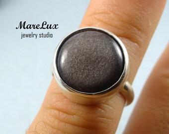 Natural Silver Sheen Obsidian Silver Ring, Round Cabochon Ring, Obsidian Ring, Gemstone Ring,  Sterling Silver Obsidian Ring, Gray Ring