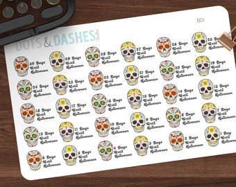 B01- Countdown to halloween, sugar skull countdown, sugar skulls, halloween stickers, planner stickers, halloween, halloween planner sticker