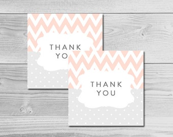 Chevron Peach and Grey Baby Shower - Thank You Tags - Instant Download Printable - Baby Girl