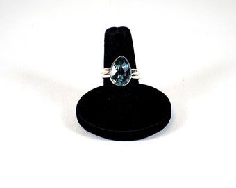 Handmade Sterling Silver Large Faceted Blue Topaz Ring