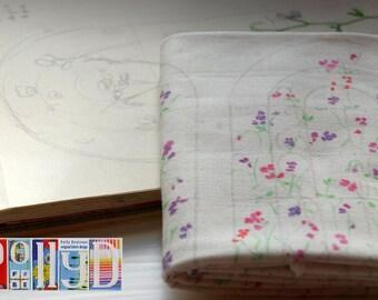 Original sweetpea motif digitally printed 100% cotton fabric fat quarter