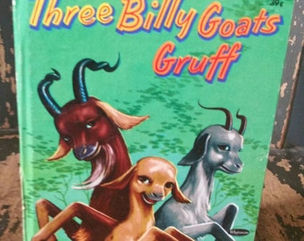 Three Billy Goats Gruff Whitman Tell a Tale Book/Collectible Children's Books/Fairy Tales and Nursery Rhymes/Vintage Nursery Decor/1970s