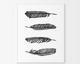 Printable Feather Wall Prints, Black and White  Feather Art, Feather Print,Bohemian Prints, Feather Wall Print