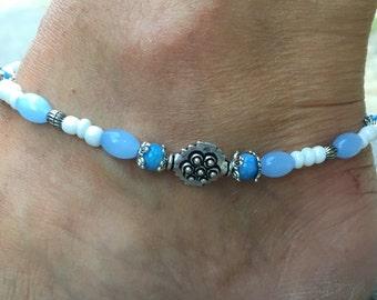 Beach Anklet, Summer Anklet, Blue Beaded Anklet