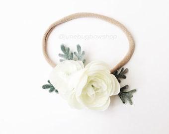 WHITE Petite flower crown, peach flower crown, floral crown, boho crown, flower headband