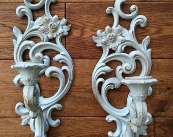 SALE!!!Two Blue Shabby Chic Wall Sconces, Wall Candleholders, French Candleholder, Vintage Wall Sconce, Wall Sconce Set, French Wall Sconce