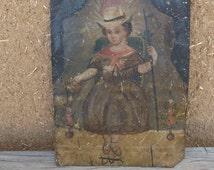 Santo Nino de Atocha 19th Century Mexican Retablo