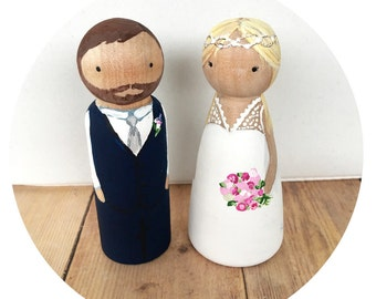 Custom Peg Dolls Bride & Groom Wedding Cake Topper Personalized couple wooden hand painted bridal Gift can do Bridesmaids Pets Flower Girl