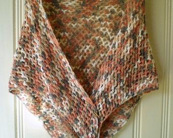 Crochet Triangular Shawl - Sand & Grey Tones