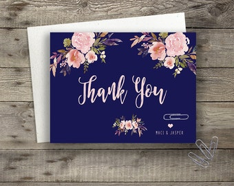 Floral Navy Wedding Thank You Card Printable Boho Chic Wedding Bohemian Wedding Thank You Card Modern Typography Spring / Summer Wedding