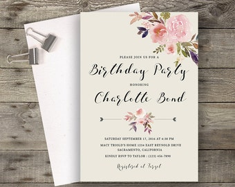 Floral Birthday Party Invitation Printable Boho Chic Birthday Invitation Suite Bohemian Birthday Invite Modern Typography