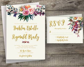 Floral Wedding Invitation Printable Boho Chic Wedding Invitation Suite Bohemian Wedding Invite Gold Typography Fall / Winter Wedding