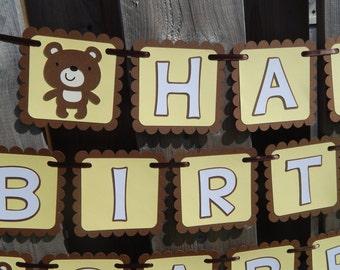 Teddy Bear Birthday or Name Banner, Teddy Bear Birthday Decor