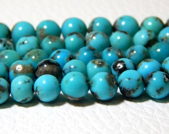 Sleeping Beauty Turquoise Round beads 100% Natural Gemstone - Size 4x4.6 mm Approx  ---