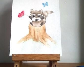 Racoon Original Watercolour Painting, Cute Racoon, Woodland Creature, Whimiscal Racoon Painting, Nursery Room Art