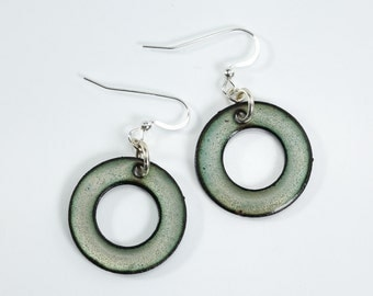 Copper Hoop Earrings Avocado Green Metal Enamel Earrings Silver Filled Metal Enamel Earrings