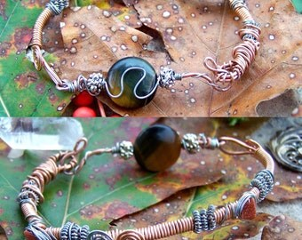 Grounding Intentions; wire wrapped tigers eye and goldstone bracelet