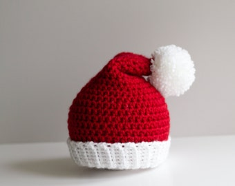 READY TO SHIP Baby Santa Hat, Christmas Hat, Santa Claus, Child Santa Hat, Baby Hat, Newborn Hat, Crochet Hat, Infant Hat, Photography Prop