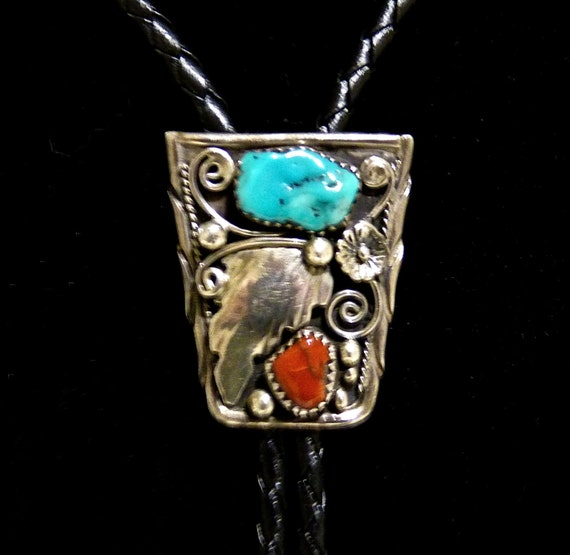BOLO TIE ~ Hallmarked W A ~ Navajo Silversmith William Anderson ~ Sterling Silver ~ Turquoise and Coral