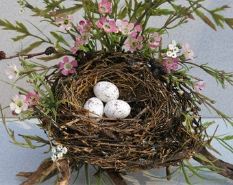 Spring Bird Nest - Sparrow Nest - Bird Nest With Eggs - Woodland Spring Nest - Rustic Nest