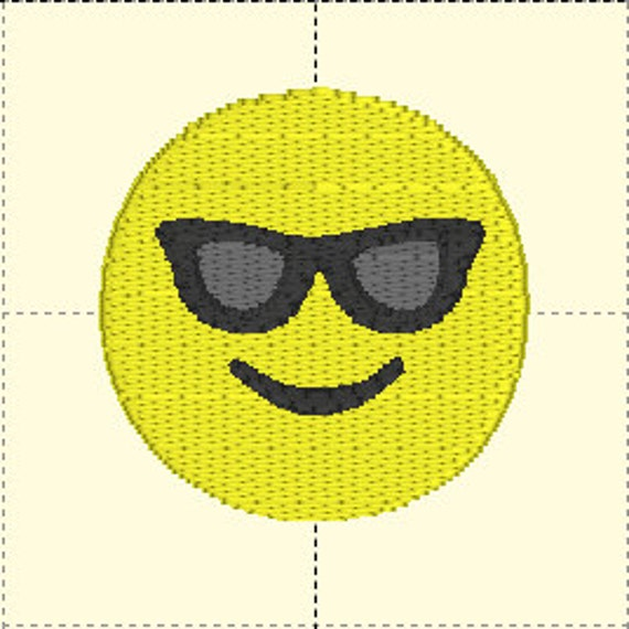 Sunglasses Emotion Embroidery Digital Download, 2 sizes!  1.5 inch and 2.5 inch.  PES format. Sunglass Emotion