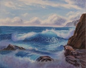 Seascape Ocean Waves, Large Oil Painting, Ocean, Seascape, Ocean Art, Fine Art, Painting, Beach, Waves, Beach