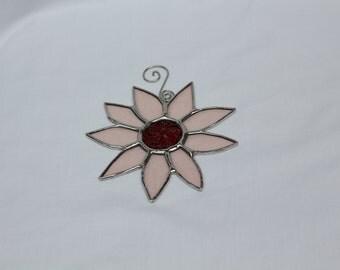 Stained Glass Flower Suncatcher with Jewel Center - Rose Flower  - Flower Suncatcher - Stained Glass Suncatcher