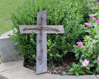 Reclaimed Wood Cross with Barbed Wire - Pallet Wood Cross - Rustic Cross - Inspirational Art - Rustic Wall Art - Barbed Wire Cross