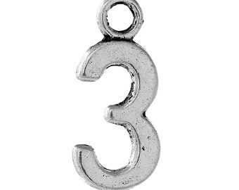 10 Number Three Charms, Number 3, Antique Silver Tone (1K-213)