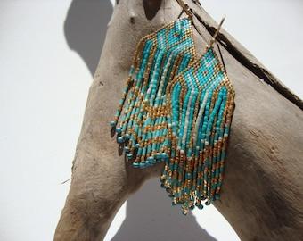 Earrings chic boho, Bohemian, ethnic loops loops, gold, turquoise, white