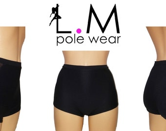 Pole dancing high waist shorts combine with mesh fabric