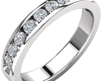 1/2 Carat Diamond Wedding Band, 1/2 Carat Diamond Channel Set Wedding Band, Diamond Channel Set Wedding Ring