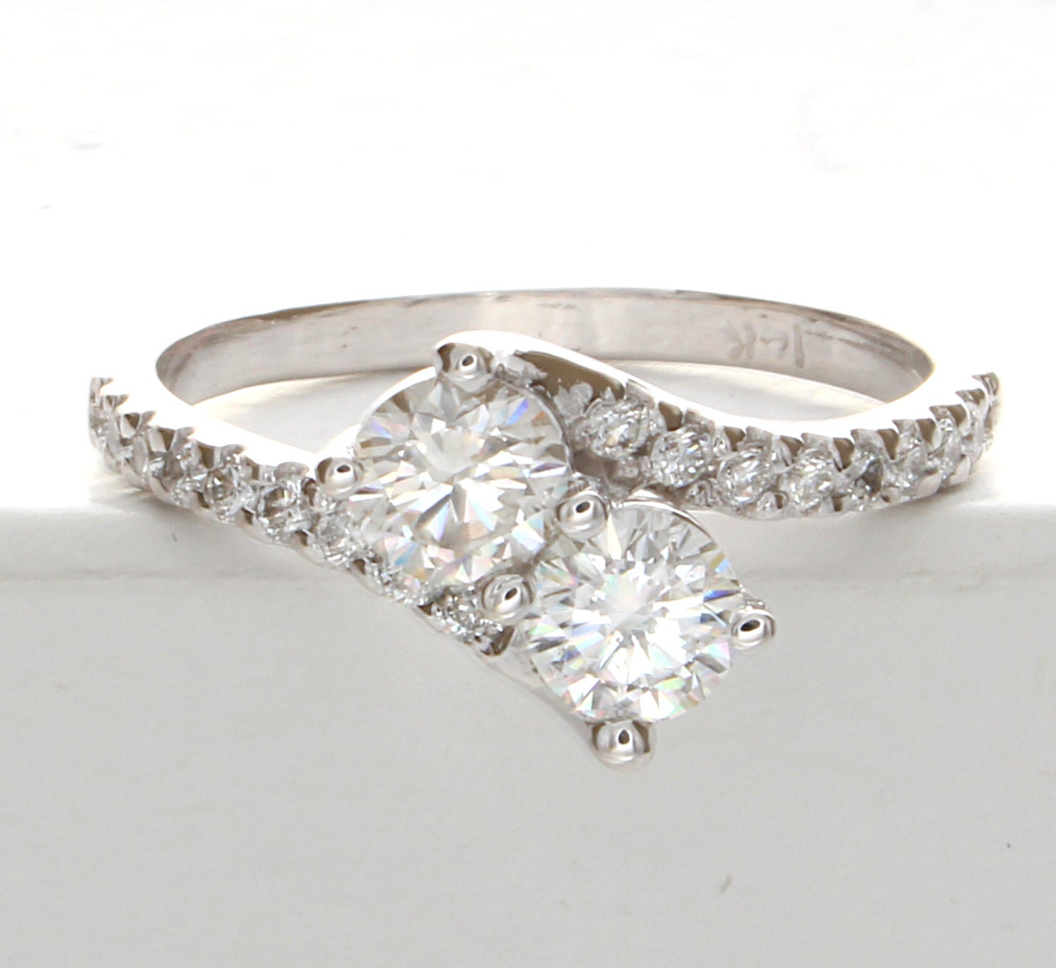 Ever Us Two Stone Diamond Ring, Two Stone Moissanite Ring, Two Stone Ring,