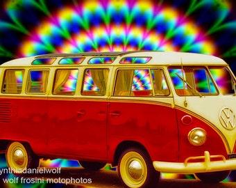 VW Bus 1963 Kombi Cruisin, Metal Prints, Classic Car Art, Car Prints, Wall Art, Photography, Prints, Gifts for Him, Home Décor, VW Prints