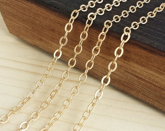 Satin Gold 4x3mm Flat Cable Chain - 5 feet or 10 feet - Satin Gold Plated - Soldered Links - Nickel Free