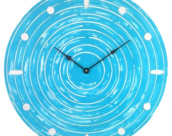 Large Weathered Circle Light Blue and White Clock