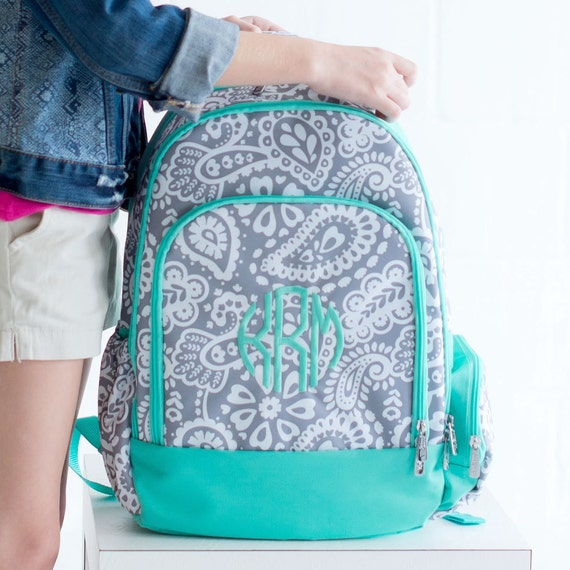 Monogram Backpack ~ Trendy and Preppy Whales Backpack ~ Personalized Backpack ~ School tote Bag ~ Mint and Pink Backpack