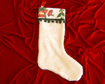 Christmas Stocking, Upcycled Christmas Stocking, Vintage Christmas Stocking, Chennile Christmas Stocking, Lined Christmas Stocking