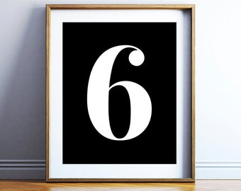 Number 6 poster download - minimal wall art - modern art print - black and white number print - scandinavian artwork - PRINTABLE POSTER
