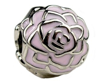 ROSEY PINK Charm---platinum Roses CLIP With Pink Enamel Stopper Safety Lock / New / s925