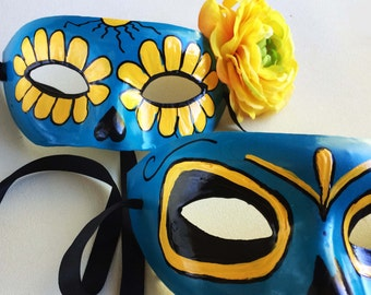 Day of the dead mask. Sugar skull mask, mask for couples, Halloween Party Mask, His and her masquerade, Flowered Skull Mask Costume