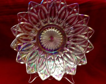 Iridescent Crystal Clear Carnival Glass Dish