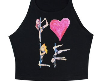 Pole Dance High Neck Crop Top || Pole Love
