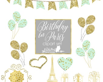 Mint Green & Gold Foil Parisian Birthday Clipart | Paris France Digital Clipart | Birthday Clipart | Eiffel Tower Clipart | Set of 11 PNGS